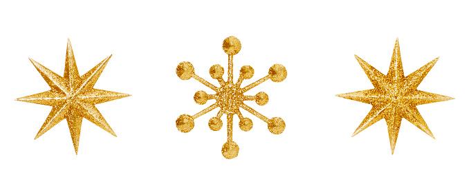 Christmas Snowflake Star Hanging Decoration, Golden Decorative Xmas Toys Ornate Isolated Over White Background
