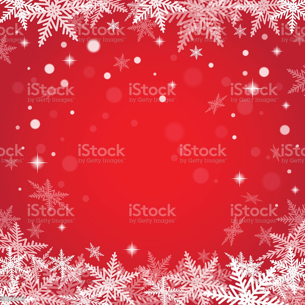 Christmas snowflakes on red background. stock photo