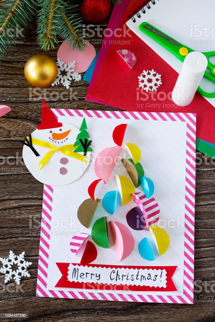 Weihnachtsgeschenk Schneemann Frohe Und Weihnachtsbaumkarte