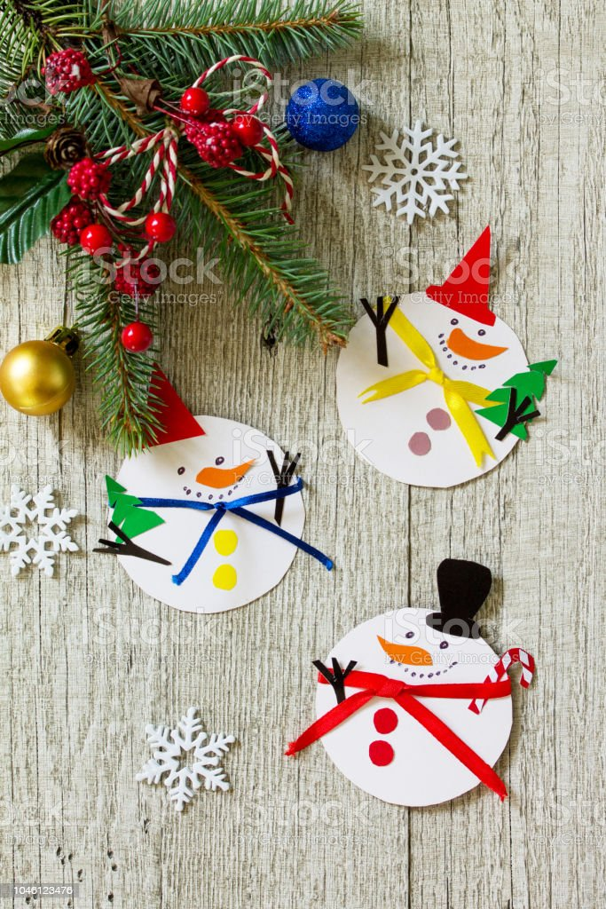 Christmas Snowman Merry Gift On Wooden Table Handmade Project Of ...