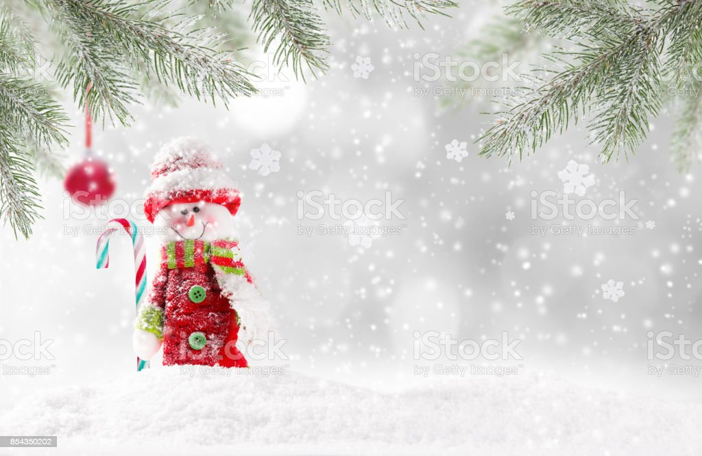 Christmas snowman on abstract background stock photo