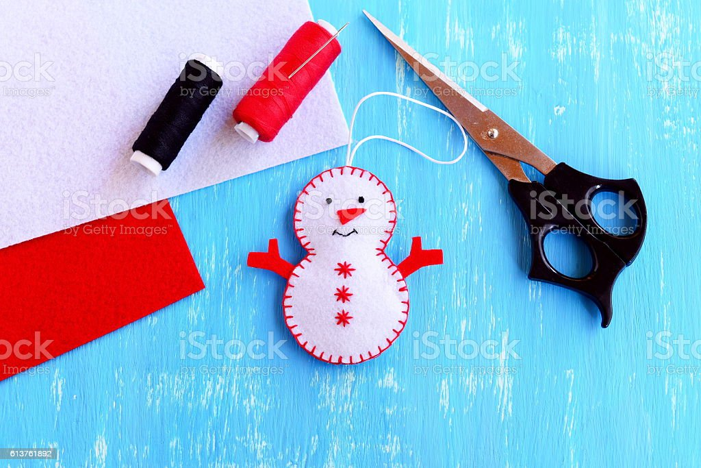 Christmas snowman ornament. Step stock photo