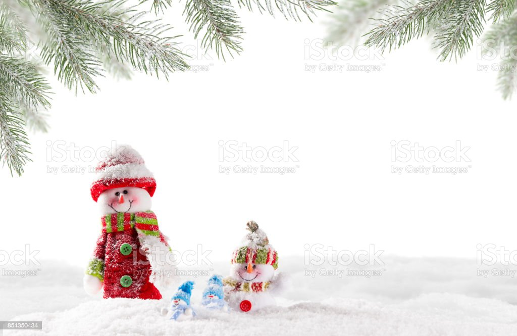 Christmas snowmen on abstract background stock photo