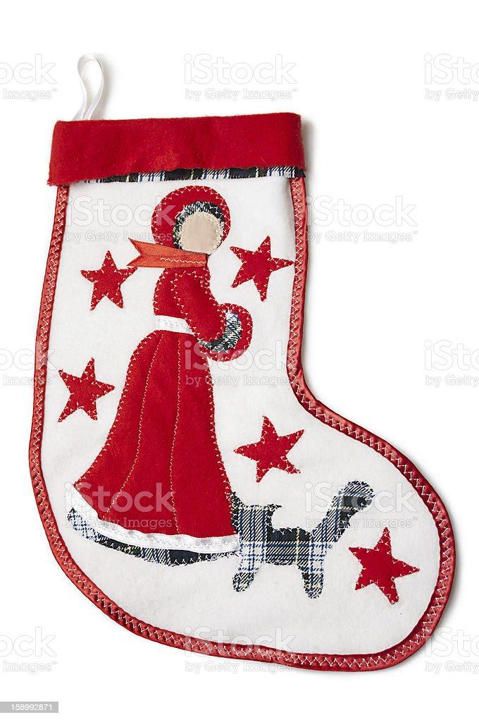 Christmas sock with a snow-princess stock photo