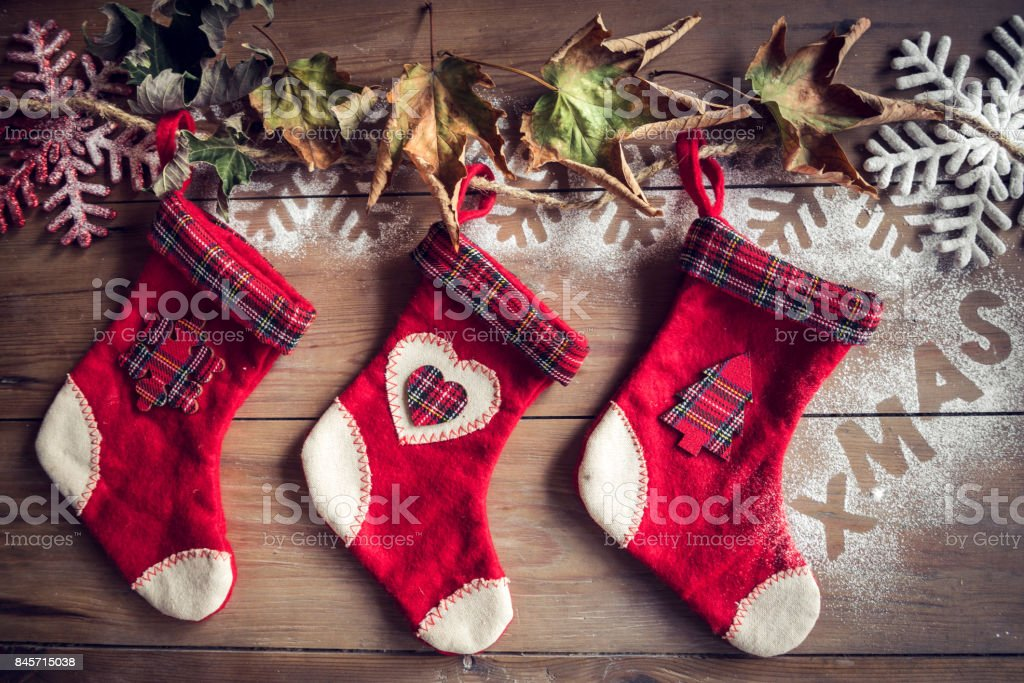 Christmas socks on the wall stock photo