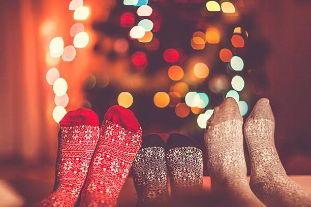 christmas socks - cozy at christmas bildbanksfoton och bilder