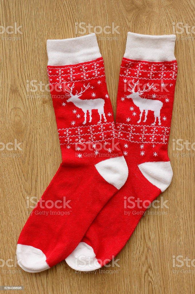 Christmas socks top view stock photo