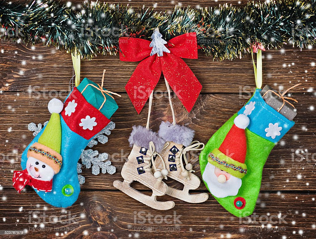 Christmas Socks With Gifts Hanging Stock Photo Download