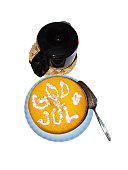 istock Christmas softcake with text in Swedish God Jul 992837794