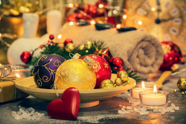 christmas spa composition - spa belgium stock photos and pictures