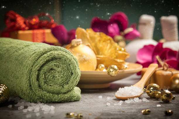 Christmas SPA composition Spa composition with Christmas decoration. Holiday SPA treatment spa belgium stock pictures, royalty-free photos & images
