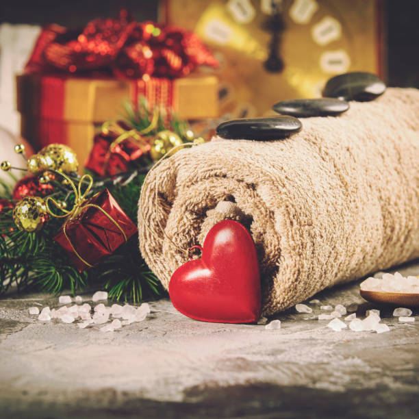 Christmas spa concept Spa composition with Christmas decoration. Holiday SPA treatment spa belgium stock pictures, royalty-free photos & images
