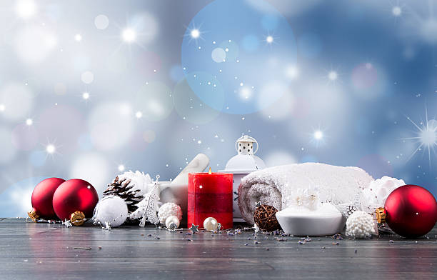 Christmas spa decoration stock photo