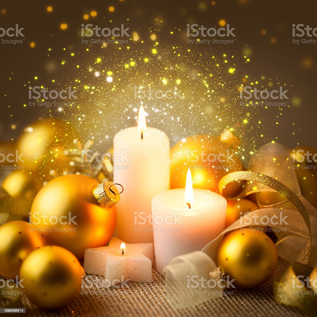 Christmas Sparkle Candles Decoration with Baubles stock photo