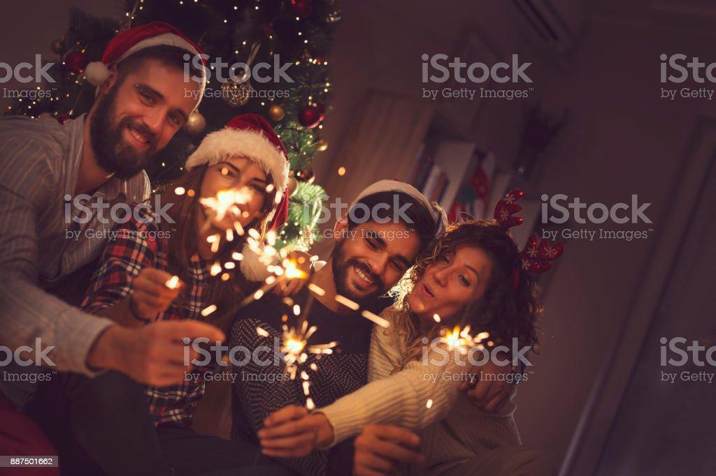 Christmas sparklers stock photo