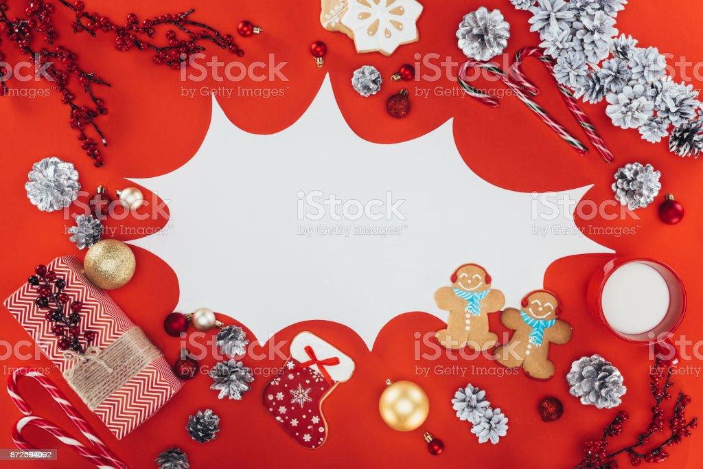 christmas speech bubble stock photo