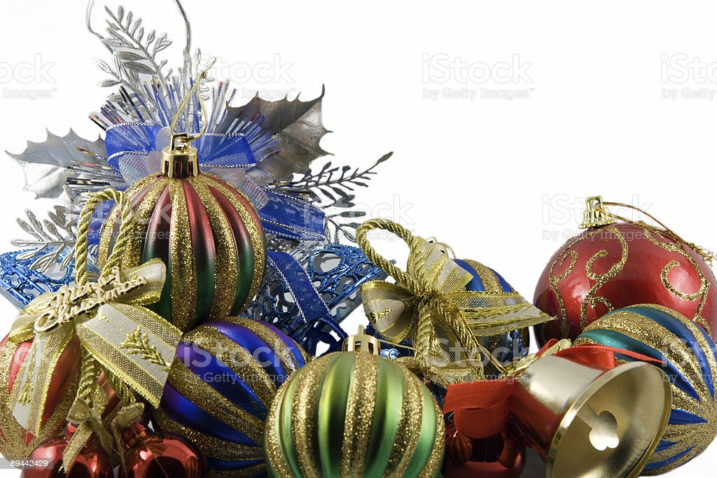 christmas spheres in tinsel on a white background royalty-free stock photo
