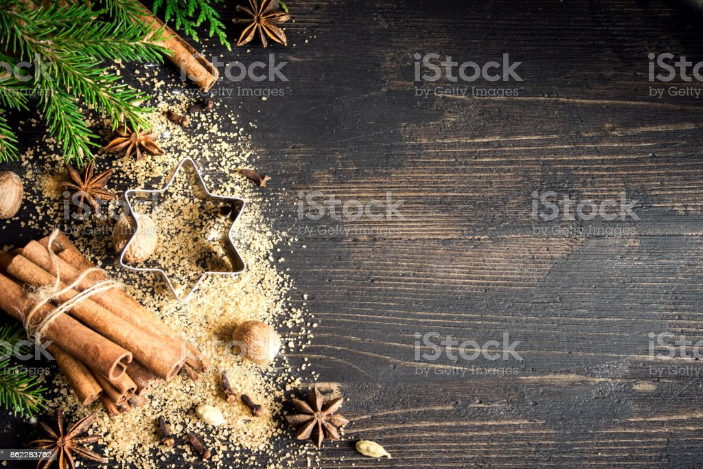 Christmas spices for baking stock photo