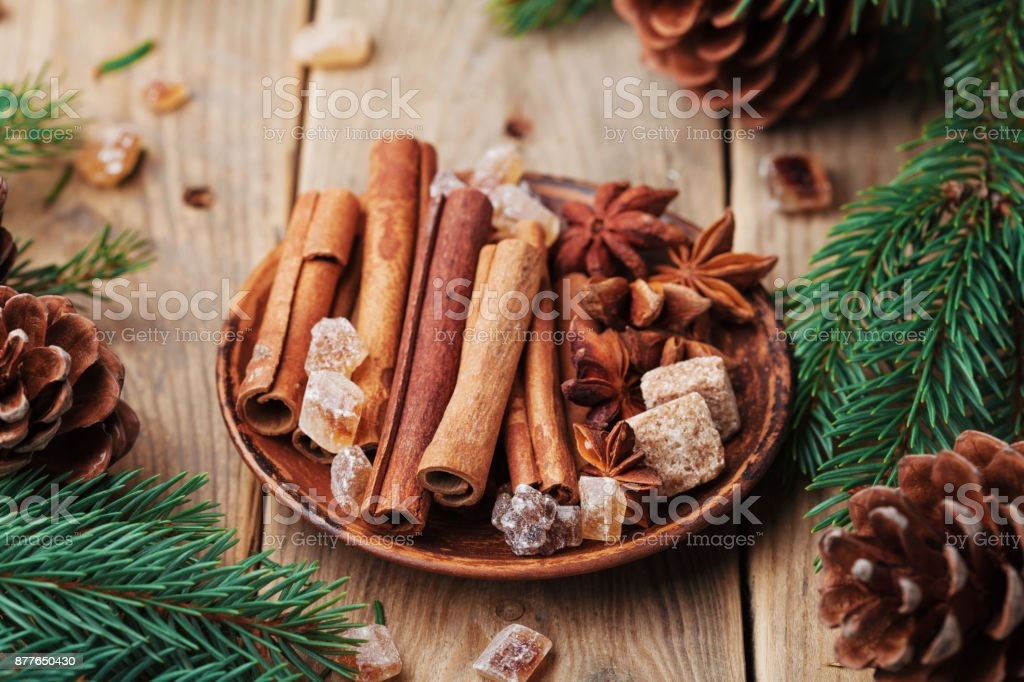 Christmas Spices In Plate On Wooden Rustic Table Anise Star