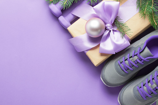 Christmas Sneakers.Christmas Sport Composition Dumbbells Sneakers Branches Concept Healthy Lifestyle Stock Photo Download Image Now
