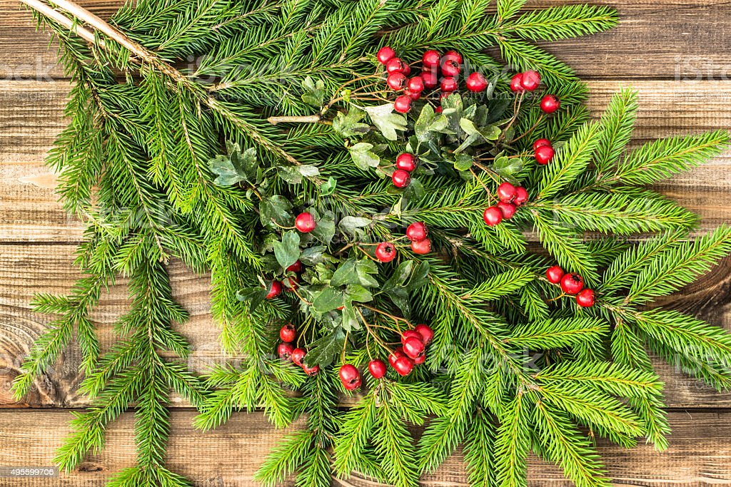Christmas spruce on wooden table. stock photo