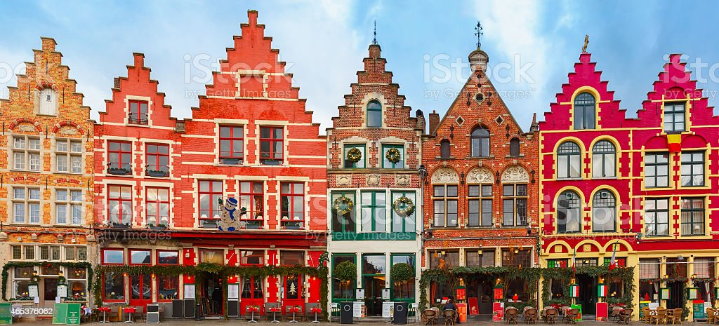 Christmas square in Belgium with colors stock photo