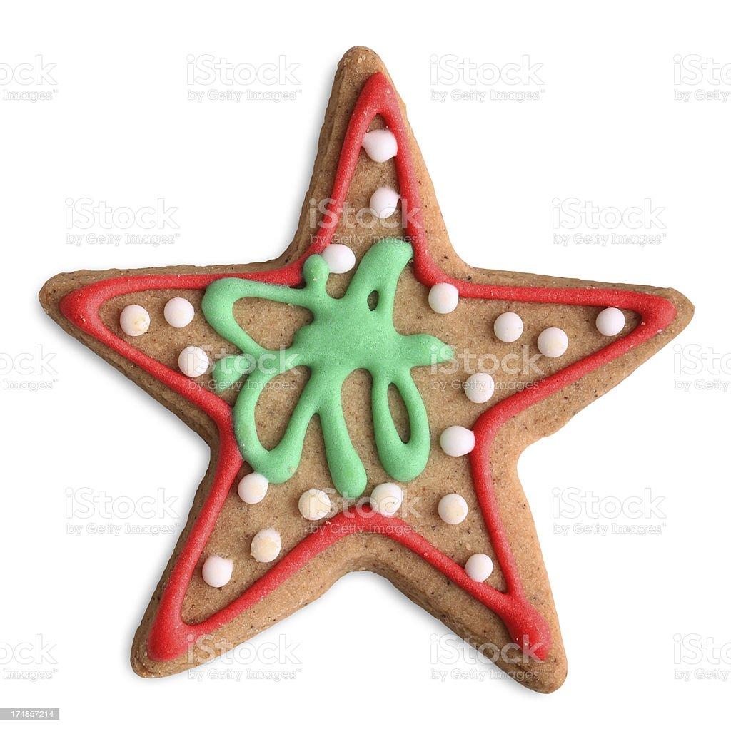 Christmas Star Cookie (Clipping Path) royalty-free stock photo