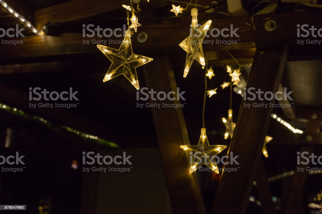 christmas star decoration on a marketplace stock photo