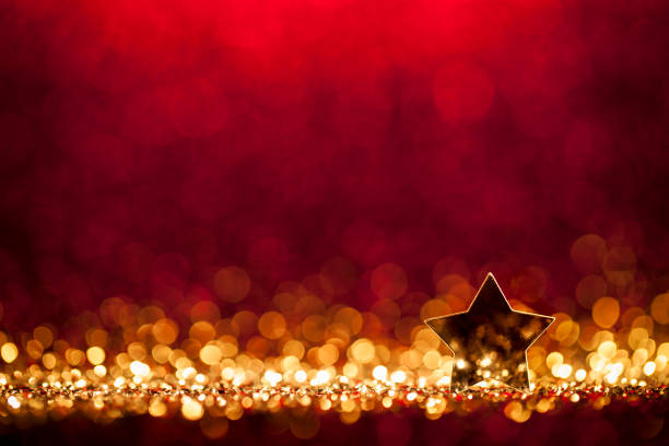 Christmas Star - Defocused Decoration Gold Red Bokeh stock photo