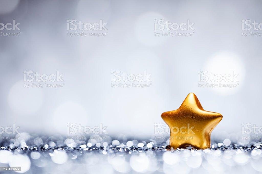 Christmas Star - Glitter Lights Bokeh Defocused Decoration White Blue stock photo