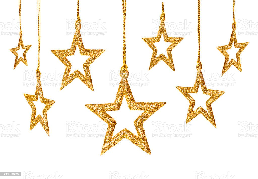 Christmas Star Hanging Decoration, New Year Sparkles Stars Set, Isolated stock photo