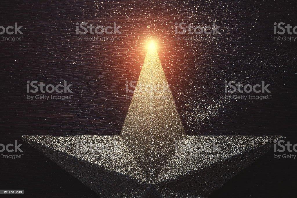 Christmas star on dark wooden background stock photo
