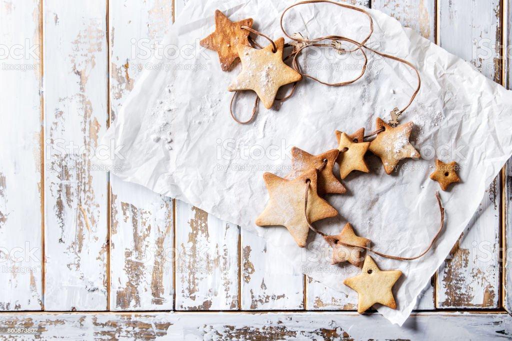 Christmas star shape sugar cookies stock photo