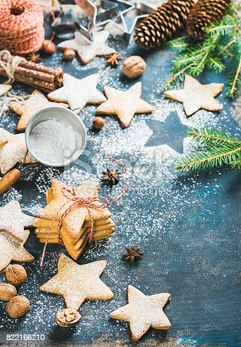 istock Christmas star shaped cookies with cinnamon, anise and nuts 822166210