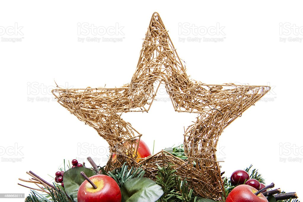Christmas star with Advent wreath stock photo
