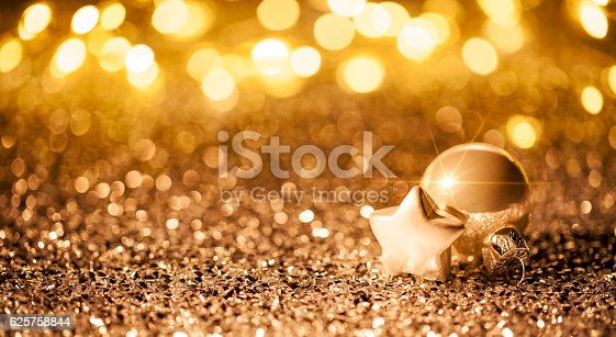 Christmas Star With Ornament On Glitter Bokeh Defocused Gold Stock Photo & More Pictures of Abstract