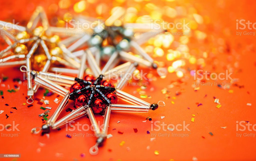 Christmas star. Xmas ornaments. Abstract christmas background stock photo