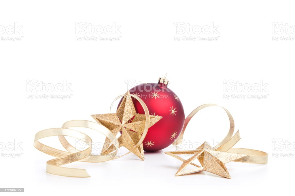 Christmas Stars, Baubles and Gold Ribbons (XXL) royalty-free stock photo