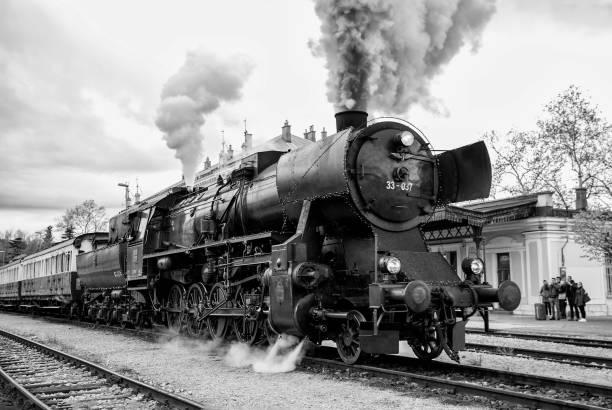 Christmas steam train stock photo