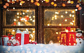 Christmas still life with old wooden window