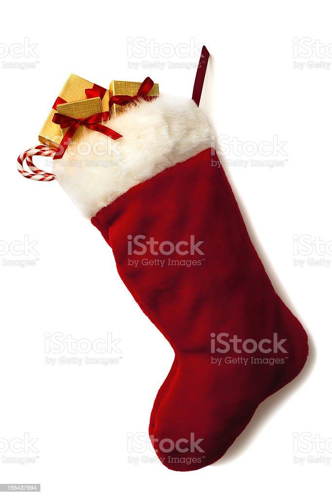 Christmas Stocking and Garland stock photo