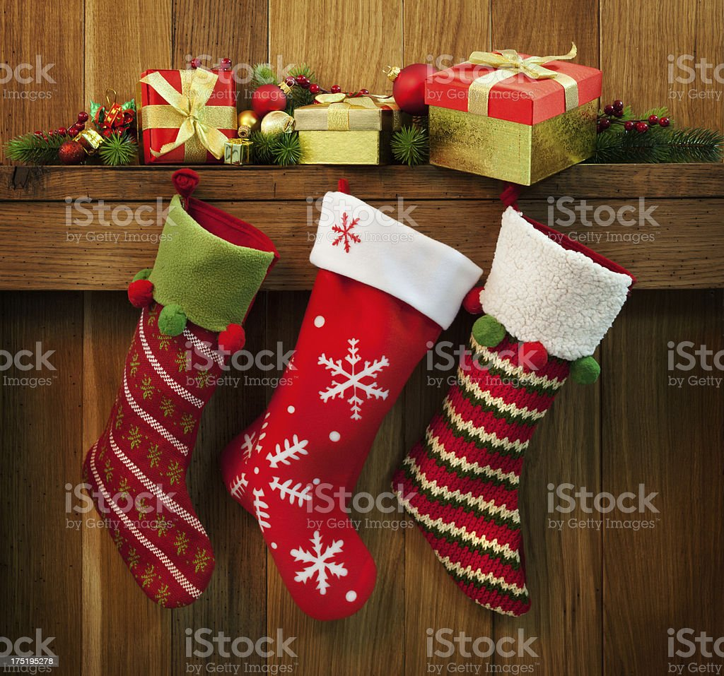 Christmas stocking and gifts stock photo