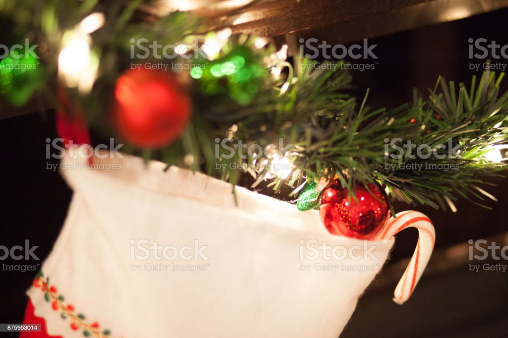 Christmas Stocking Hung on the Mantle stock photo