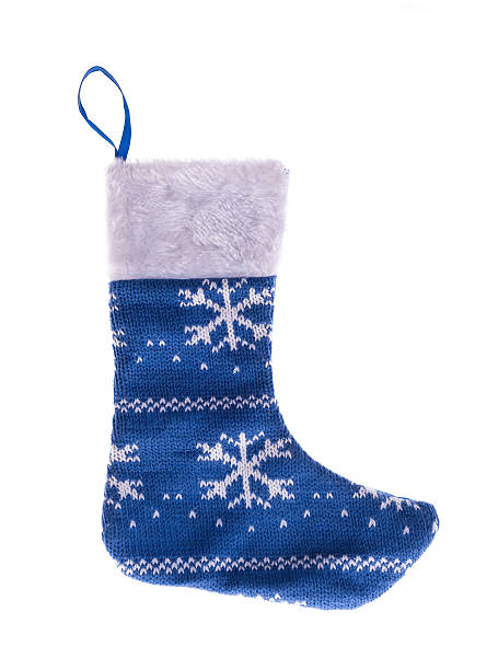 christmas stocking isolated on white background stock photo - Blue Christmas Stocking