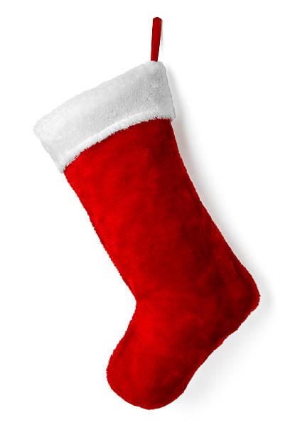 Christmas stocking Santa Claus' stocking against white background. christmas stocking stock pictures, royalty-free photos & images