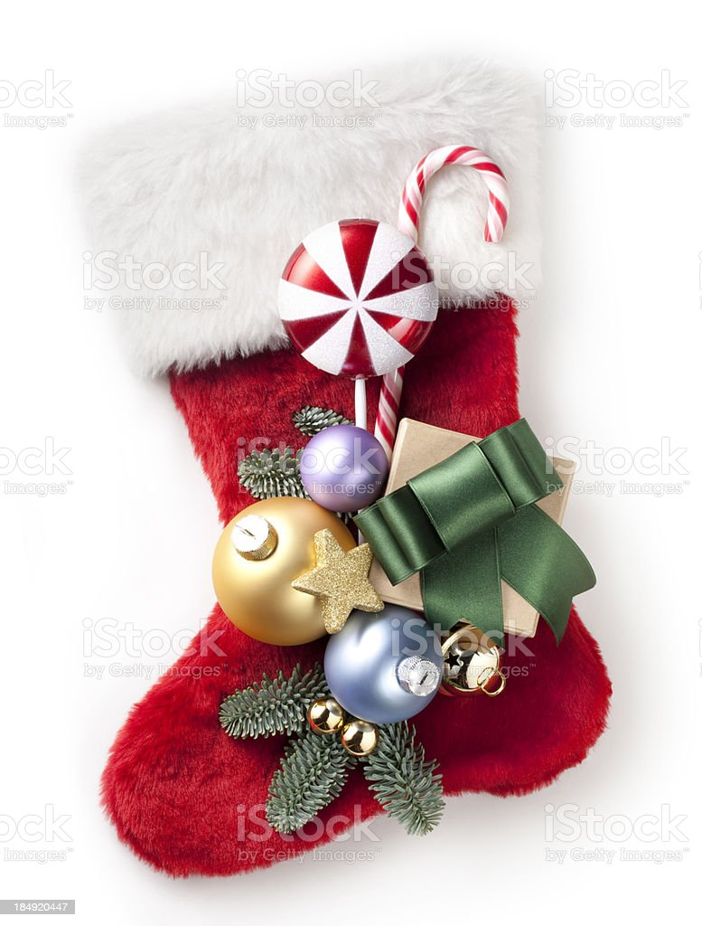Christmas stocking with decorations royalty-free stock photo