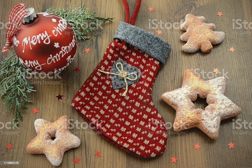 Christmas Stocking with Xmas ornament and cookies royalty-free stock photo
