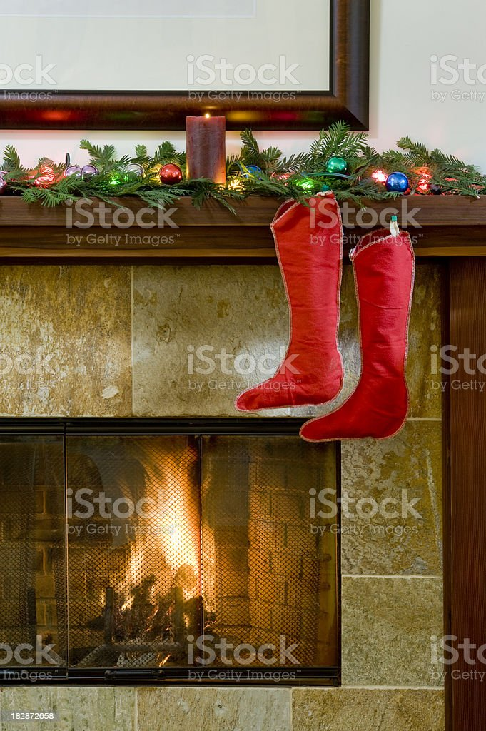 Christmas Stockings and Fireplace. royalty-free stock photo
