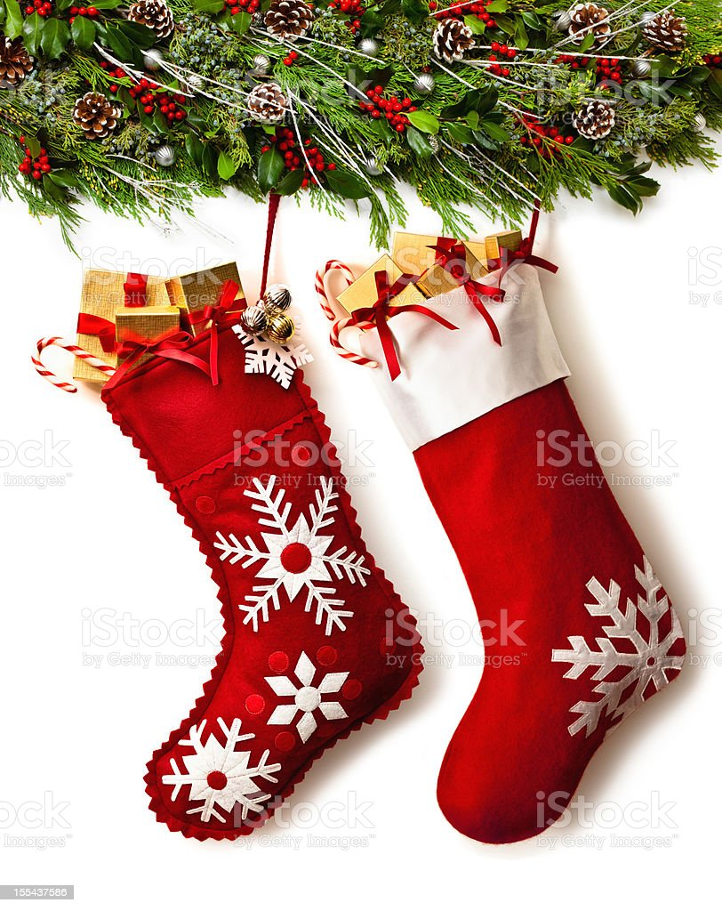 Christmas Stockings And Garland Stock Photo Download Image Now Istock