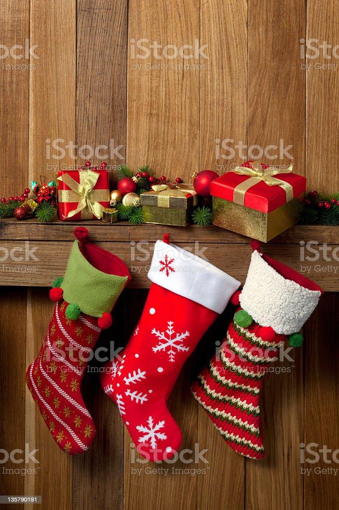 Christmas stockings stock photo